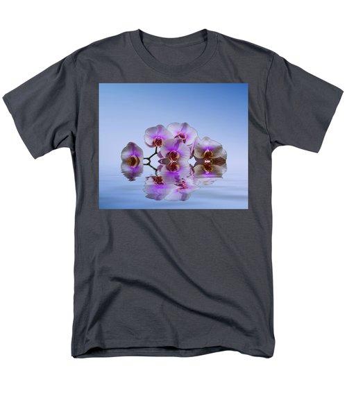 Pink Orchids Blue Background Men's T-Shirt  (Regular Fit)