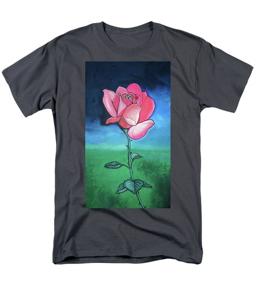 Men's T-Shirt  (Regular Fit) featuring the painting Pink Rose by Mary Ellen Frazee