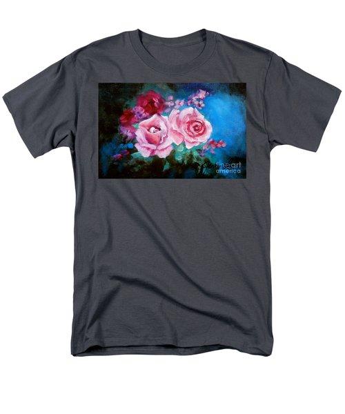 Pink Roses On Blue Men's T-Shirt  (Regular Fit) by Jenny Lee