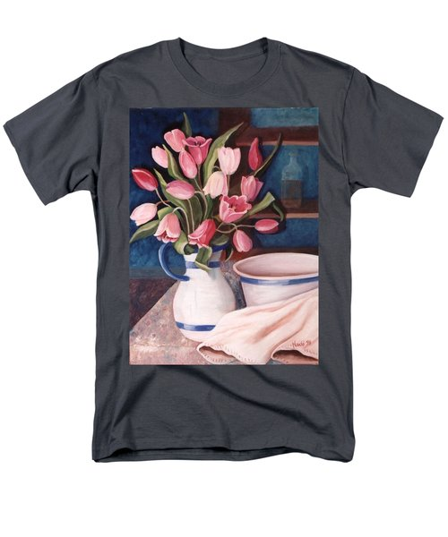 Men's T-Shirt  (Regular Fit) featuring the painting Pink Tulips by Renate Nadi Wesley