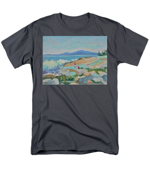 Playing On Schoodic Rocks Men's T-Shirt  (Regular Fit) by Francine Frank