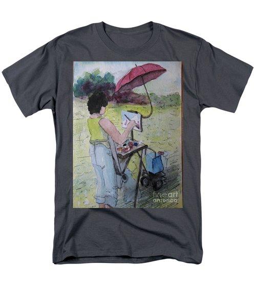 Men's T-Shirt  (Regular Fit) featuring the painting Plein-air Artist Sandra by Gretchen Allen