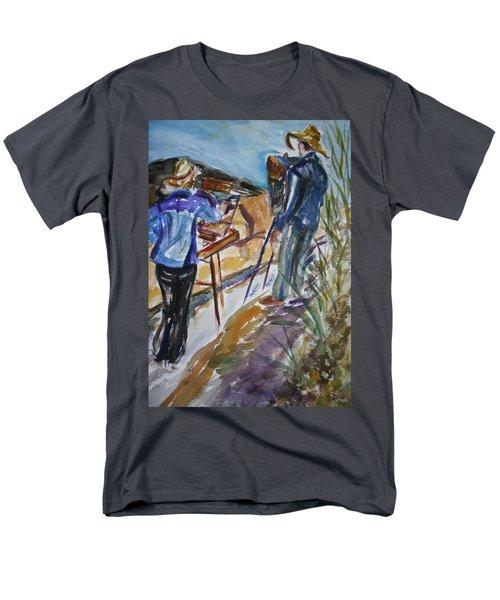 Plein Air Painters - Original Watercolor Men's T-Shirt  (Regular Fit) by Quin Sweetman