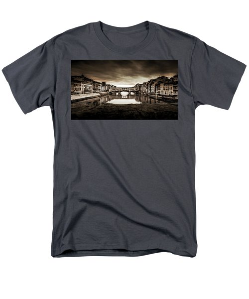 Men's T-Shirt  (Regular Fit) featuring the photograph Ponte Vecchio In Sepia by Sonny Marcyan