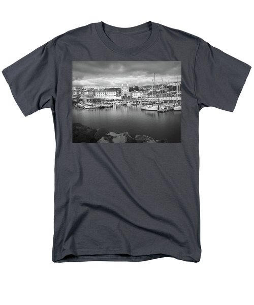 Port Of Angra Do Heroismo, Terceira Island, The Azores In Black And White Men's T-Shirt  (Regular Fit) by Kelly Hazel
