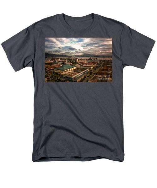 Port View At River Mahakam Men's T-Shirt  (Regular Fit) by Charuhas Images