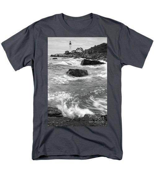 Men's T-Shirt  (Regular Fit) featuring the photograph Portland Head Light Under Heavy Skies  -88356 by John Bald