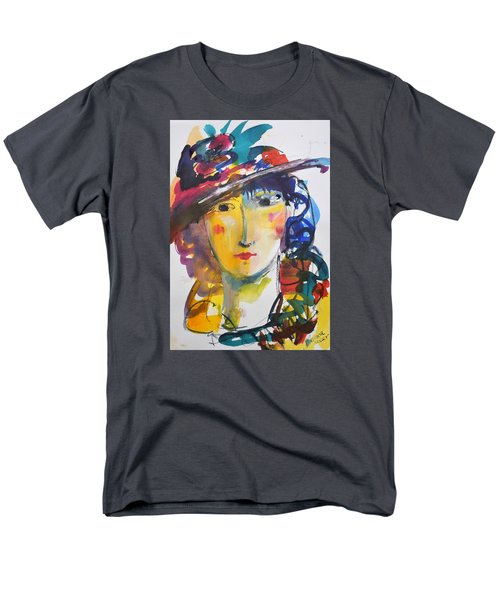 Portrait Of Woman With Flower Hat Men's T-Shirt  (Regular Fit) by Amara Dacer