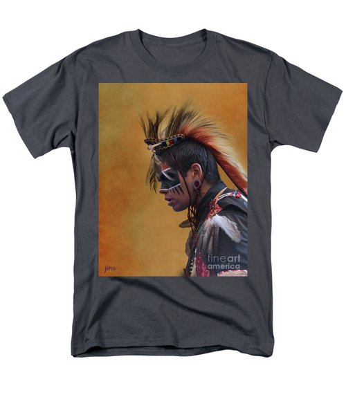 Men's T-Shirt  (Regular Fit) featuring the mixed media Pow Wow by Jim  Hatch