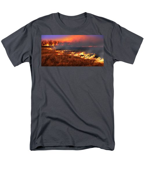 Men's T-Shirt  (Regular Fit) featuring the photograph Prairie Burn by Rod Seel