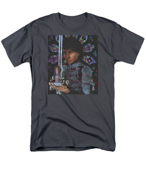 Men's T-Shirt  (Regular Fit) featuring the painting Pray For Paris Joan Of Arc by Suzanne Silvir