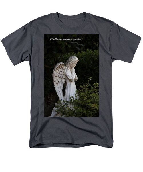 Praying Angel With Verse Men's T-Shirt  (Regular Fit) by Kathleen Scanlan