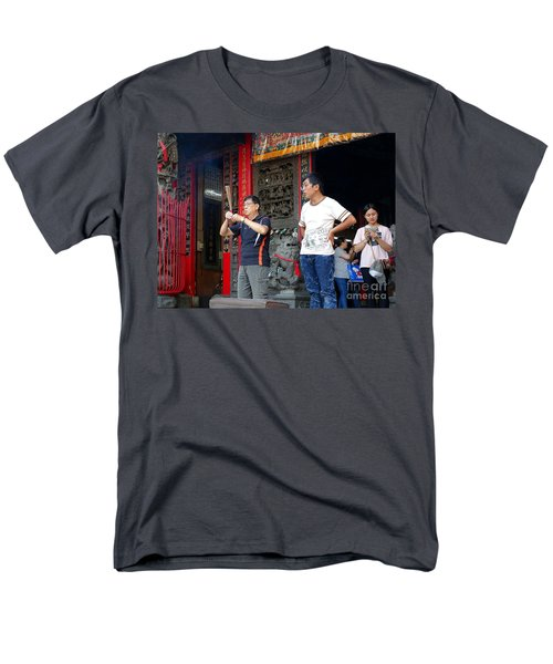 Men's T-Shirt  (Regular Fit) featuring the photograph Praying At A Temple In Taiwan by Yali Shi