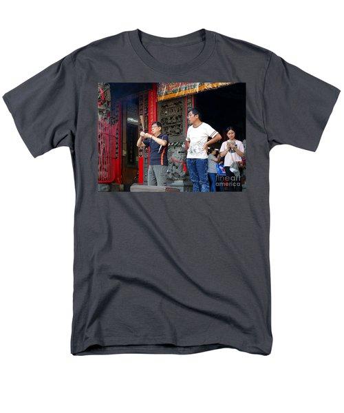 Praying At A Temple In Taiwan Men's T-Shirt  (Regular Fit) by Yali Shi