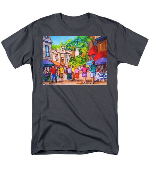 Men's T-Shirt  (Regular Fit) featuring the painting Prince Arthur Street Montreal by Carole Spandau