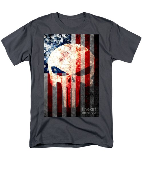 Punisher Skull And American Flag On Distressed Metal Sheet Men's T-Shirt  (Regular Fit) by M L C