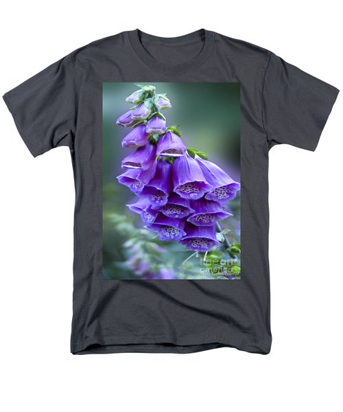 Purple Bell Flowers Foxglove Flowering Stalk Men's T-Shirt  (Regular Fit) by Carol F Austin