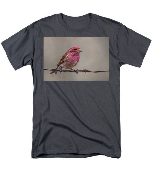 Men's T-Shirt  (Regular Fit) featuring the photograph Purple Finch On Barbwire by Paul Freidlund