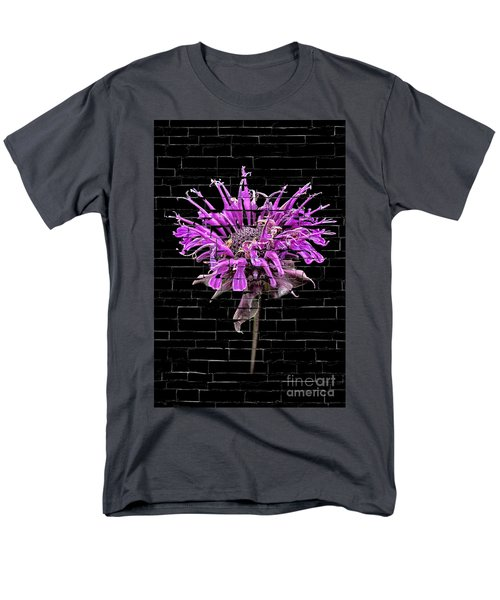 Purple Flower Under Bricks Men's T-Shirt  (Regular Fit) by Walt Foegelle