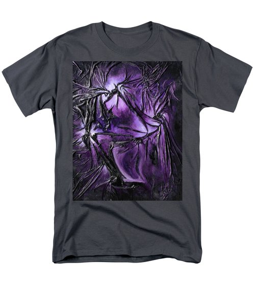 Men's T-Shirt  (Regular Fit) featuring the mixed media Purple Pedals by Angela Stout