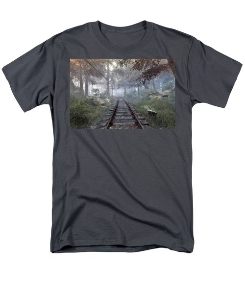 Men's T-Shirt  (Regular Fit) featuring the digital art Rails To A Forgotten Place by Kai Saarto