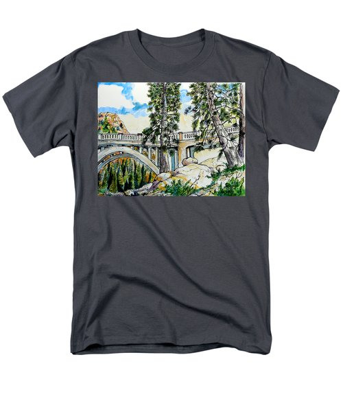 Men's T-Shirt  (Regular Fit) featuring the painting Rainbow Bridge At Donner Summit by Terry Banderas