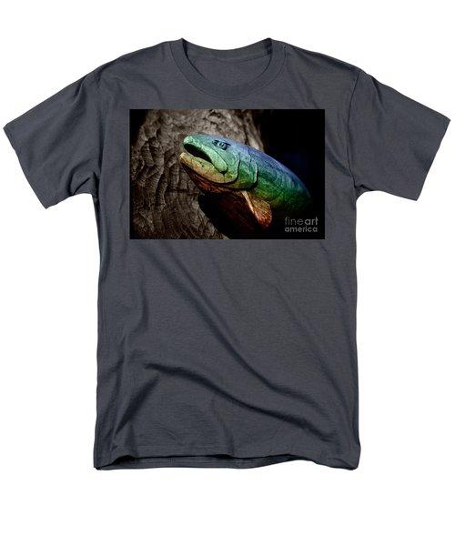 Rainbow Trout Wood Sculpture Men's T-Shirt  (Regular Fit) by John Stephens