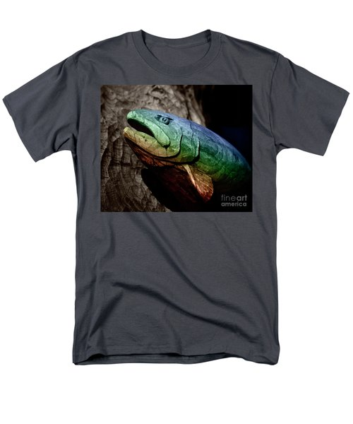 Men's T-Shirt  (Regular Fit) featuring the photograph Rainbow Trout Wood Sculpture Square by John Stephens