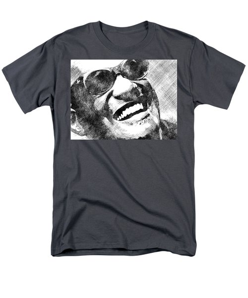 Ray Charles Bw Portrait Men's T-Shirt  (Regular Fit) by Mihaela Pater