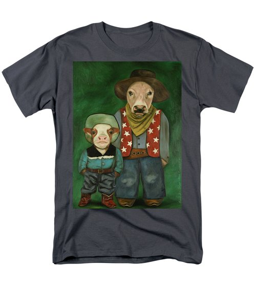 Men's T-Shirt  (Regular Fit) featuring the painting Real Cowboys 3 by Leah Saulnier The Painting Maniac