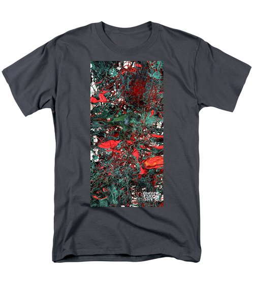 Men's T-Shirt  (Regular Fit) featuring the painting Red And Black Turquoise Drip Abstract by Genevieve Esson