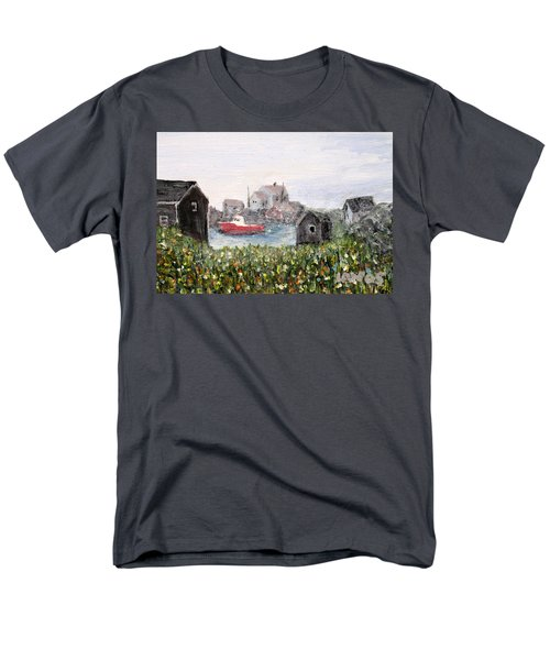 Men's T-Shirt  (Regular Fit) featuring the painting Red Boat In Peggys Cove Nova Scotia  by Ian  MacDonald