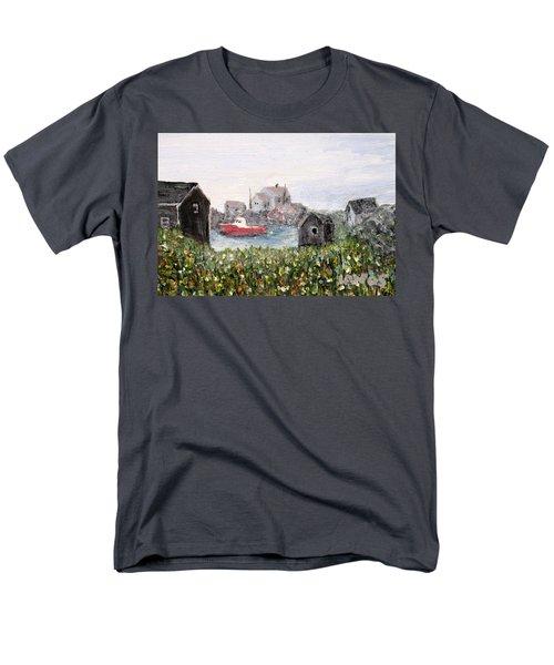 Red Boat In Peggys Cove Nova Scotia  Men's T-Shirt  (Regular Fit) by Ian  MacDonald