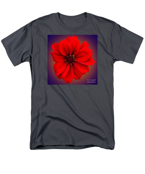 Men's T-Shirt  (Regular Fit) featuring the photograph Red Dahlia-bishop-of-llandaff by Brian Roscorla