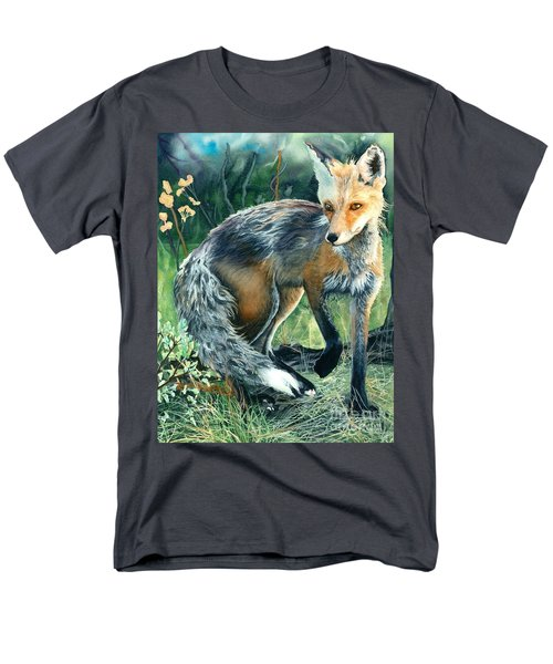 Men's T-Shirt  (Regular Fit) featuring the painting Red Fox- Caught In The Moment by Barbara Jewell