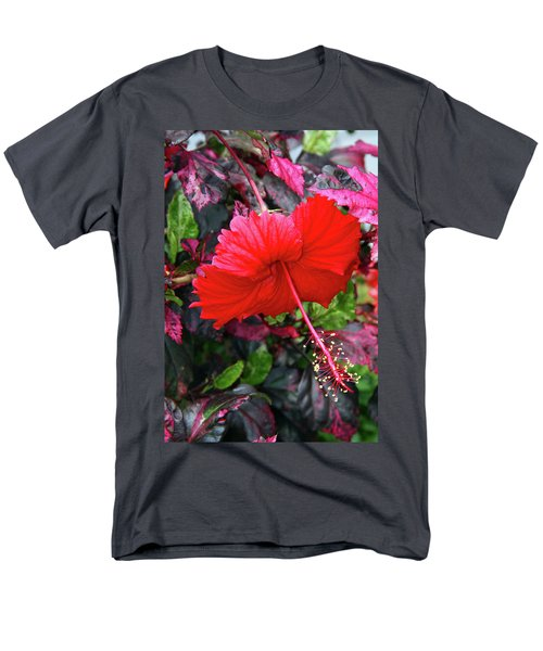 Red Hibiscus  Men's T-Shirt  (Regular Fit) by Inspirational Photo Creations Audrey Woods