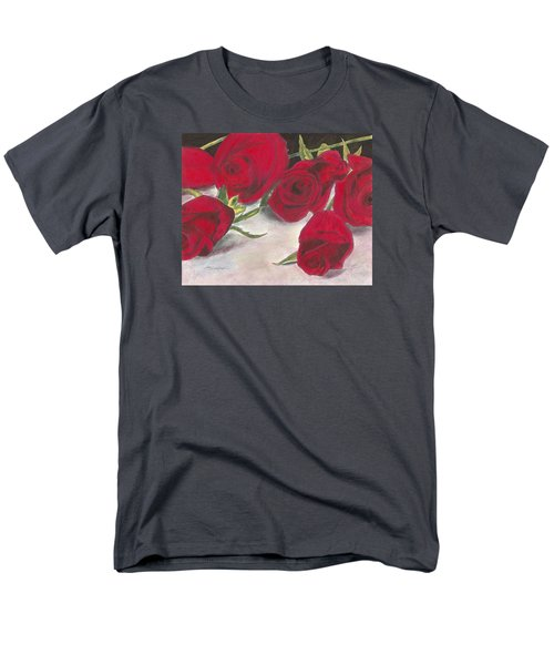 Men's T-Shirt  (Regular Fit) featuring the drawing Red Rose Redux by Arlene Crafton