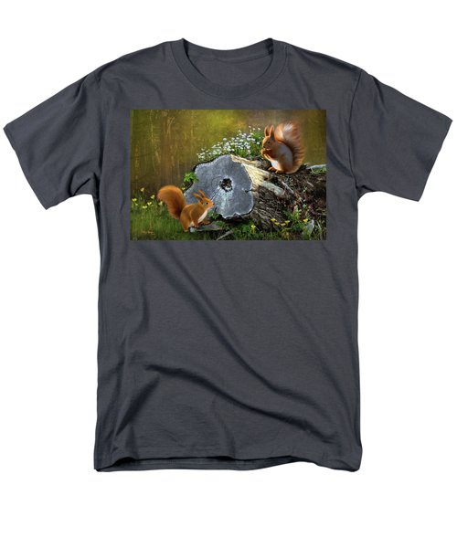 Men's T-Shirt  (Regular Fit) featuring the digital art Red Squirrels by Thanh Thuy Nguyen