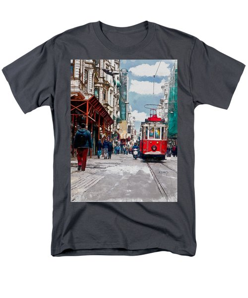 Men's T-Shirt  (Regular Fit) featuring the digital art Red Tram by Kai Saarto