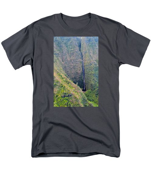 Men's T-Shirt  (Regular Fit) featuring the photograph Ribbon Falls On The Napali Coast by Brenda Pressnall