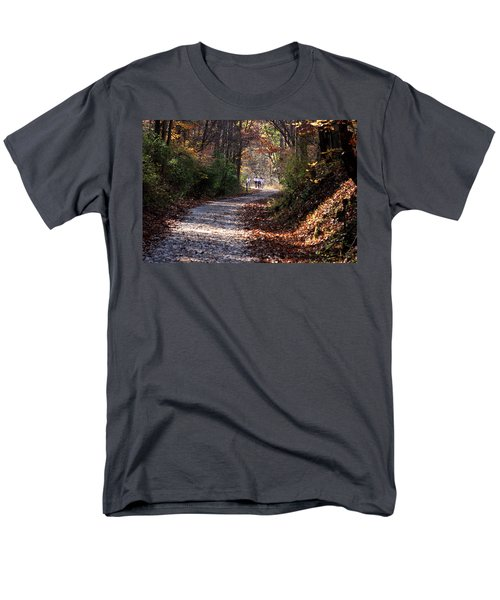 Men's T-Shirt  (Regular Fit) featuring the photograph Riding Bikes On Park Trail In Autumn by Emanuel Tanjala