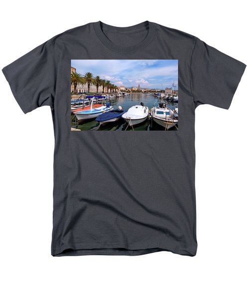 Riva Waterfront, Houses And Cathedral Of Saint Domnius, Dujam, Duje, Bell Tower Old Town, Split, Croatia Men's T-Shirt  (Regular Fit) by Elenarts - Elena Duvernay photo