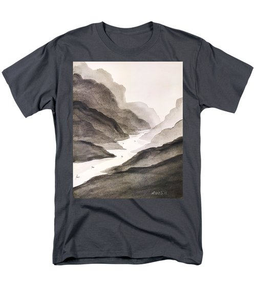 Men's T-Shirt  (Regular Fit) featuring the painting River Running Through Mountains by Edwin Alverio