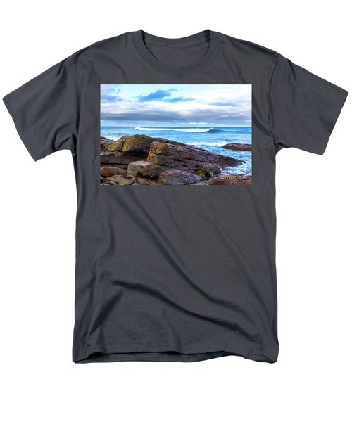 Men's T-Shirt  (Regular Fit) featuring the photograph Rock And Wave by Perry Webster