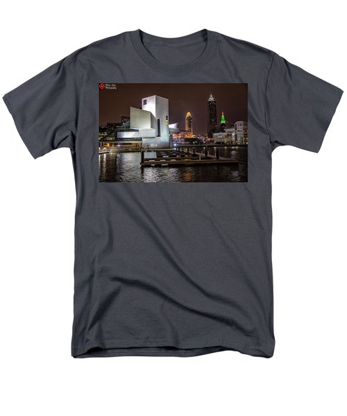 Men's T-Shirt  (Regular Fit) featuring the photograph Rock Hall Of Fame And Cleveland Skyline by Peter Ciro