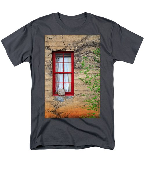 Men's T-Shirt  (Regular Fit) featuring the photograph Rock On A Red Window by James Eddy