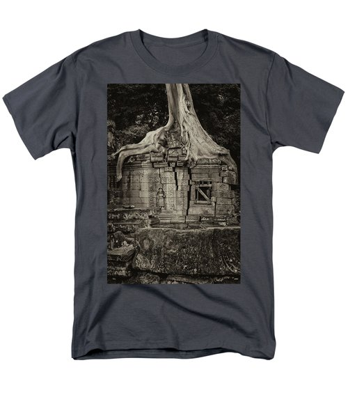 Men's T-Shirt  (Regular Fit) featuring the photograph Roots In Ruins 5, Ta Prohm, 2014 by Hitendra SINKAR
