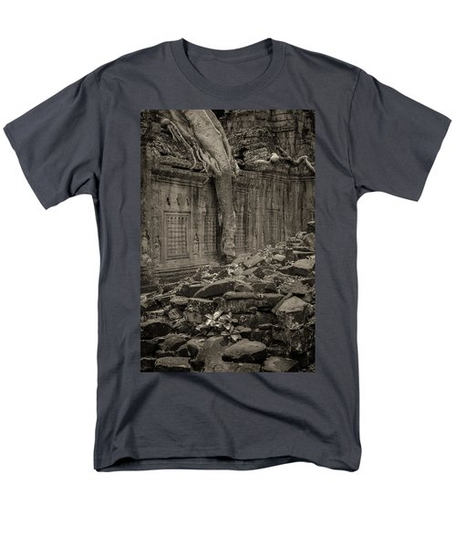 Men's T-Shirt  (Regular Fit) featuring the photograph Roots In Ruins 6, Ta Prohm, 2014 by Hitendra SINKAR