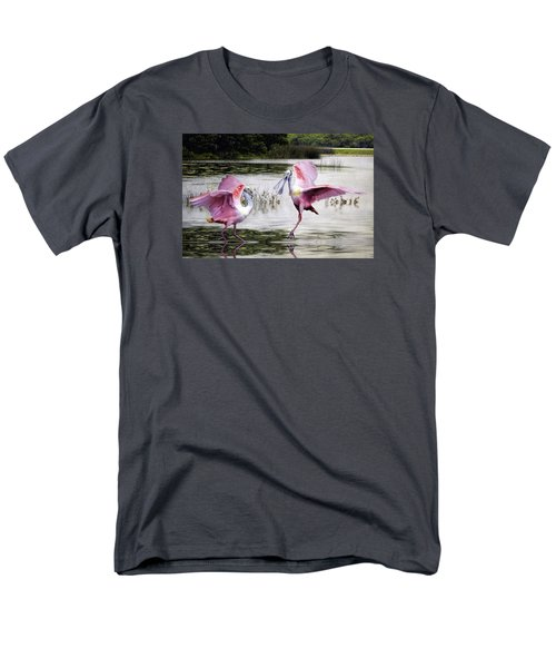 Men's T-Shirt  (Regular Fit) featuring the photograph Roseate Spoonbills Sparring. by Brian Tarr