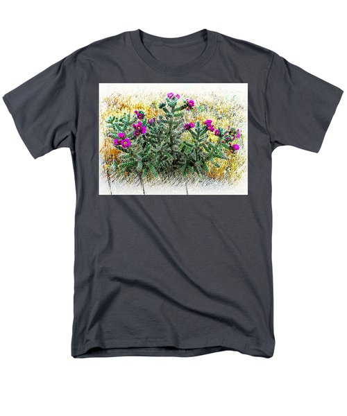Men's T-Shirt  (Regular Fit) featuring the photograph Royal Gorge Cactus With Flowers by Joseph Hendrix